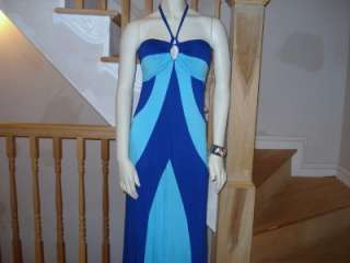 NWT BEBE SEXY WOMEN BLUE/TEAL HALTER MAXI DRESS MED