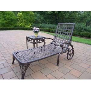 Oakland Living Elite Cast Aluminum Chaise Lounge with Side