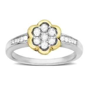 Sterling Silver and 14k Yellow Gold Diamond Flower Ring, (1/4 cttw, I