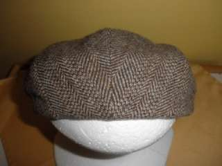 cap hat w/ flaps snap brim brown tweed Northern Cap Mpls Minn S wool