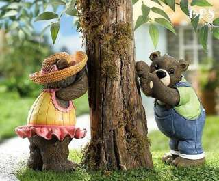 Hide & Seek Boy & Girl Bear Tree Leaner Garden Statues