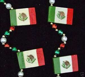 MEXICO MEXICAN FLAG Mardi Gras Beads Necklace Party