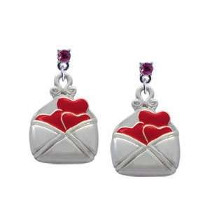 Heart Love Letter Hot Pink Swarovski Post Charm Earrings