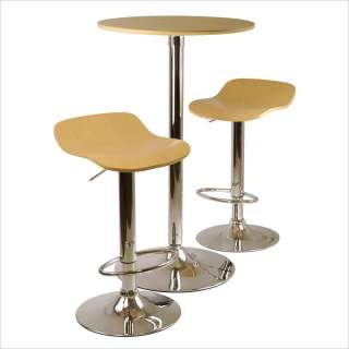 Winsome Kallie 3pc Table & Stools Natural Wood Pub Set 021713933843