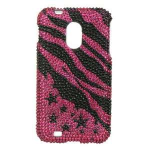 VMG Pink Black Zebra Stars & Stripes Design Hard 2 Pc Plastic Bling