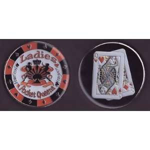 Ladies (Pocket Queens) Poker Card Cover Protector Sports