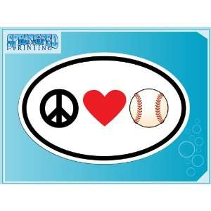 PEACE LOVE BASEBALL euro oval vinyl decal car truck laptop