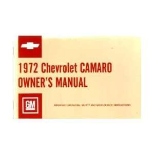 1972 CHEVROLET CAMARO Owners Manual User Guide Automotive