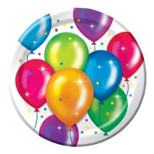 Party Balloons Birthday Paper Luncheon Plates   Bulk Toys