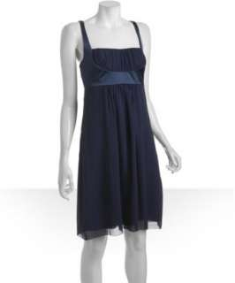 Nicole Miller navy silk georgette shirred bust dress   up to