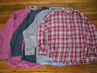 Lot of 4 Eddie Bauer Cotton Flannel & Twill Shirts L XL