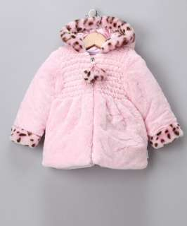 Bon Bebe Baby Girls Pink Faux Fur Hooded Jacket Coat Cheetah 18 Months