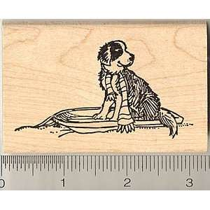 St. Bernard Puppy Dog Rubber Stamp   Wood Mounted Arts