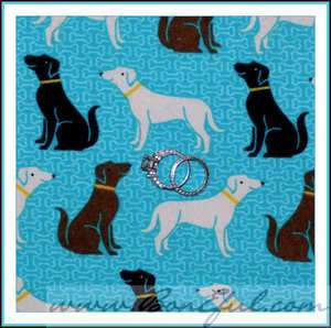 BOOAK Fabric Puppy Dog Flannel Cotton Lab Labrador Retriever B&W Brown