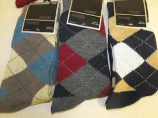 Pair ARGYLE PATTERN DRESS SOCKS Burgundy, Blue, Green etc. NWT New