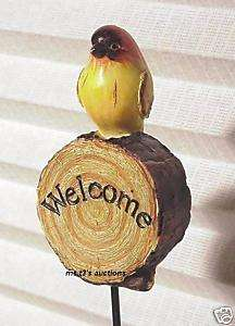 YELLOW BIRD ON A WELCOME ENGRAVED LOG YARD STAKE