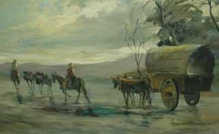 Vintage Western Oil Painting Riders w/ Wagon by R Vidal