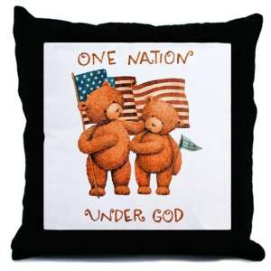 Pillow One Nation Under God Teddy Bears with US Flag