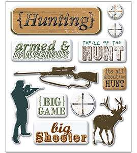 Art Whse 3 D MINI EPOXY Stickers HUNTING scrapbooking BIG GAME RIFLE