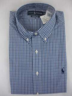 Polo Ralph Lauren Mens DRESS SHIRT Classic Fit Plaid Blue Navy White