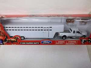 RAY 1/32 SCALE F 350 SUPER DUTY DIECAST WHITE TRUCK LIVESTOCK TRAILER
