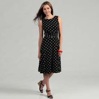 Jessica Howard Womens Black Polka Dot Ruched Waist Dress