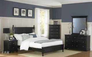 4PC MORELLE COTTAGE BLACK WOOD LOW PROFILE BEDROOM SET