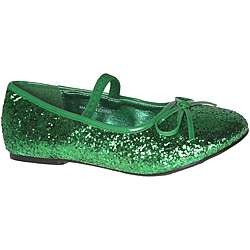 Pleaser Girls Green Glitter Bow tie Ballet Flats