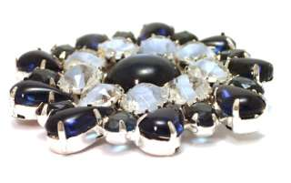 Huge Brooch Pin Sapphire Blue Givré Rhinestone Glass Cabochon Jewelry