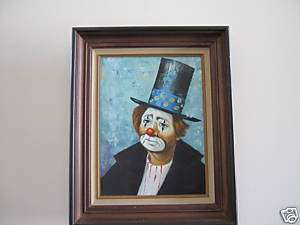 ORIGINAL LARGE OIL PAINTING OF SAD CLOWN WITH TOP HAT