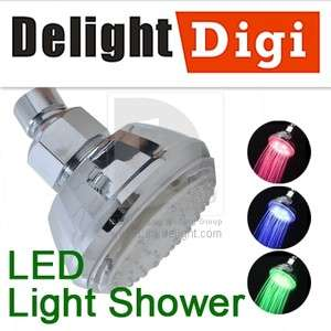 Sensor 3 Color Change RGB LED Light Glow Water Shower Head Bathroom