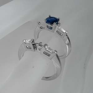 90 CT TW BLUE ROUND SAPPHIRE & DIAMOND ACCENTS ENGAGEMENT RING 14K
