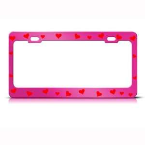 Red Hearts Love Metal license plate frame Tag Holder
