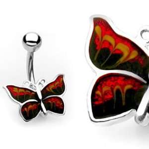 Red and black butterfly belly ring Jewelry