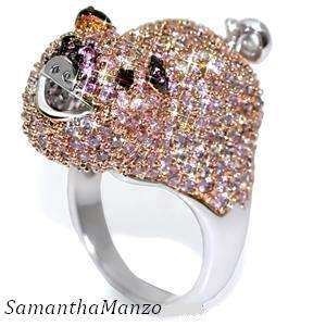 Pink Micro Pave Cz Cubic Zirconia PIG Cocktail Ring 7