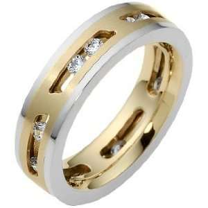 18 Karat Two Tone Gold MOVING DIAMOND Band, 0.54 TCW   10 Jewelry