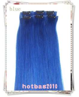 20 6pcs 100% Real HUMAN HAIR CLIP IN EXTENSION #Blue,30​g/set