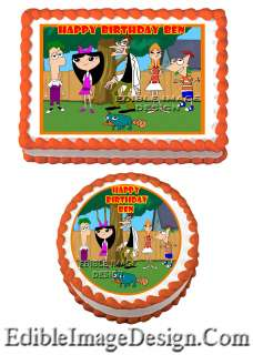 PHINEAS AND FERB #2 Birthday Edible Party Cake Image Cupcake Topper