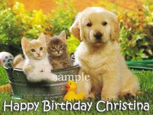 PUPPY DOG and KITTENS Edible CAKE Image Icing Topper