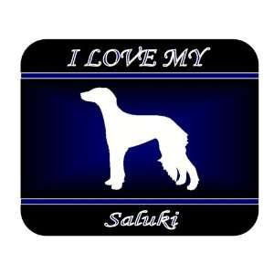 I Love My Saluki Dog Mouse Pad   Blue Design Everything