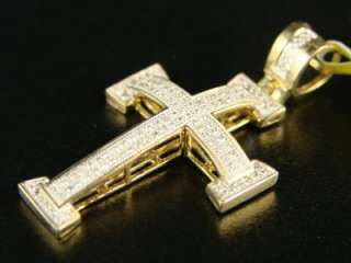 10K MENS LADIES MINI DIAMOND CROSS CHARM PENDANT .55 CT