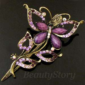 ADDL Item  rhinestone crystal butterfly hair clamp claw