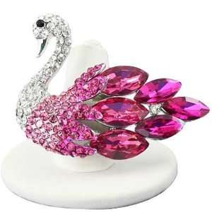 Rhodium Plated Pink Rhinestone Studded Swan Stretch Ring