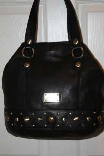 Michael Kors Black Leather Stud DELANCY Shoulder Tote Bag $398