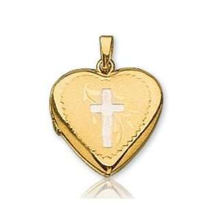 14k Two Tone Gold Stylish Heart Carved Cross Locket Jewelry