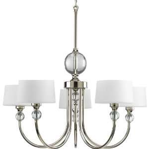 Progress P4674 104 Fortune   Five Light Chandelier, Polished Nickel