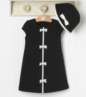 NWT Janie & Jack Bonjour Black & White Bow Dress Hat 2 3 Girls