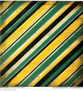 SS Green & Gold Striped Grunge Scrapbook Paper