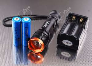 CREE XM L T6 LED Zoomable Flashlight Zoom Torch light +18650 +Charger