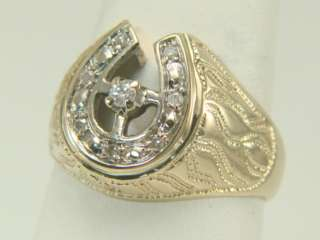14K Yellow Gold Diamond Horseshoe Estate Ring